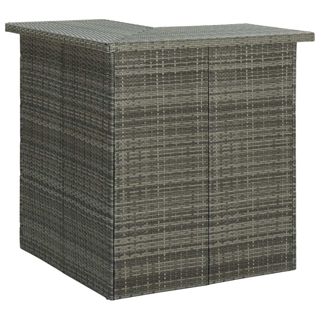 Hoekbartafel 100x50x105 cm poly rattan grijs