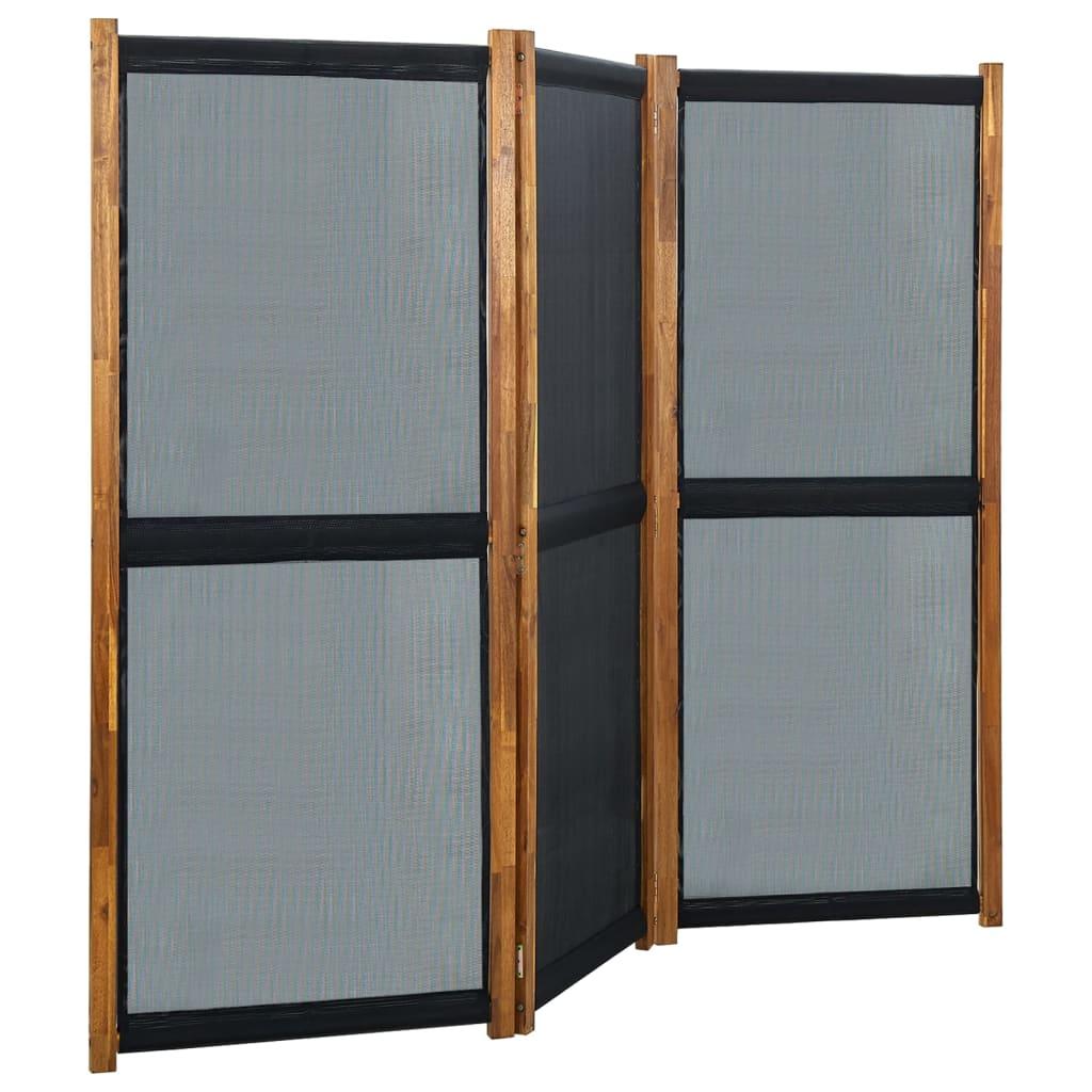 Kamerscherm met 3 panelen 210x170 cm zwart