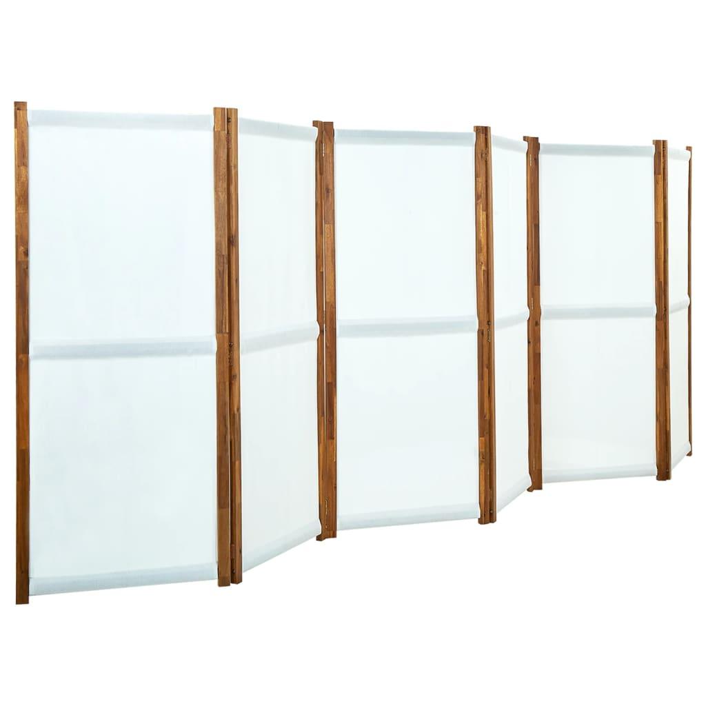 Kamerscherm met 6 panelen 420x170 cm crmewit
