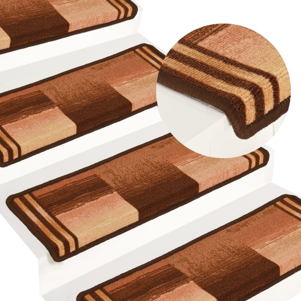 Trapmatten zelfklevend 15 st 65x25 cm bruin