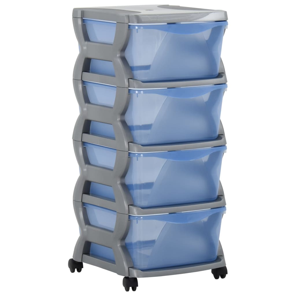 Ladekast op wielen 36x40x80 cm grijs en blauw