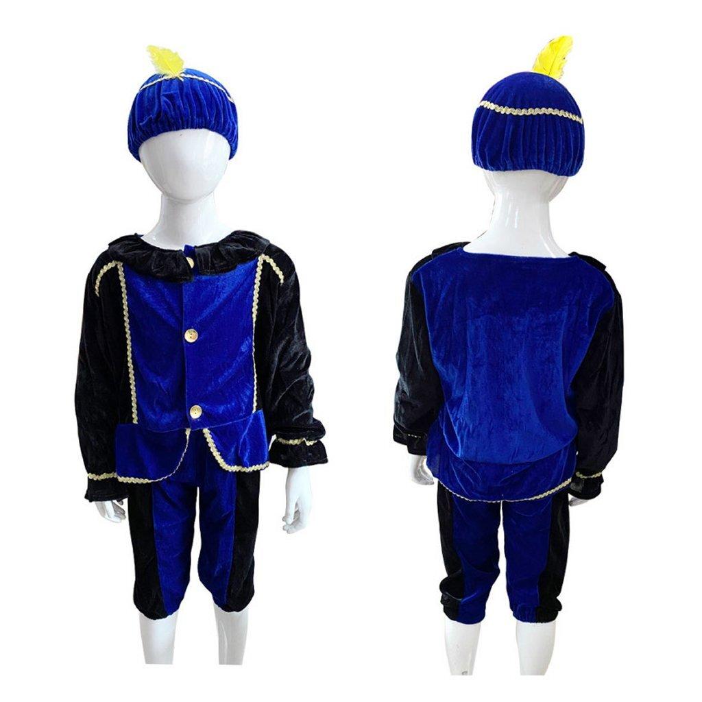 Verkleedset Pietenpak Blauw-Zwart 3-5 Jaar