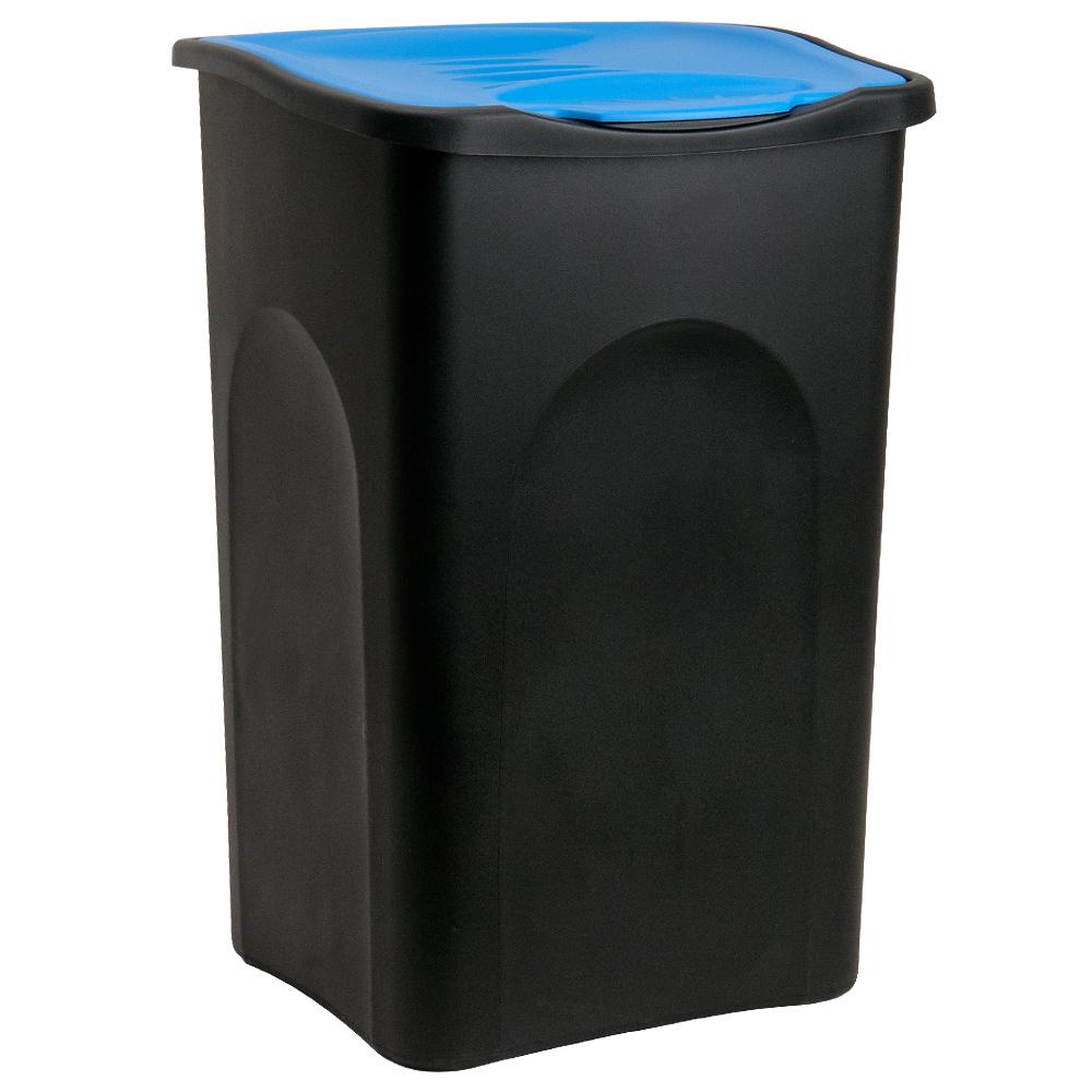 Deuba Vuilnisbak zwart/blauw plastic 50L