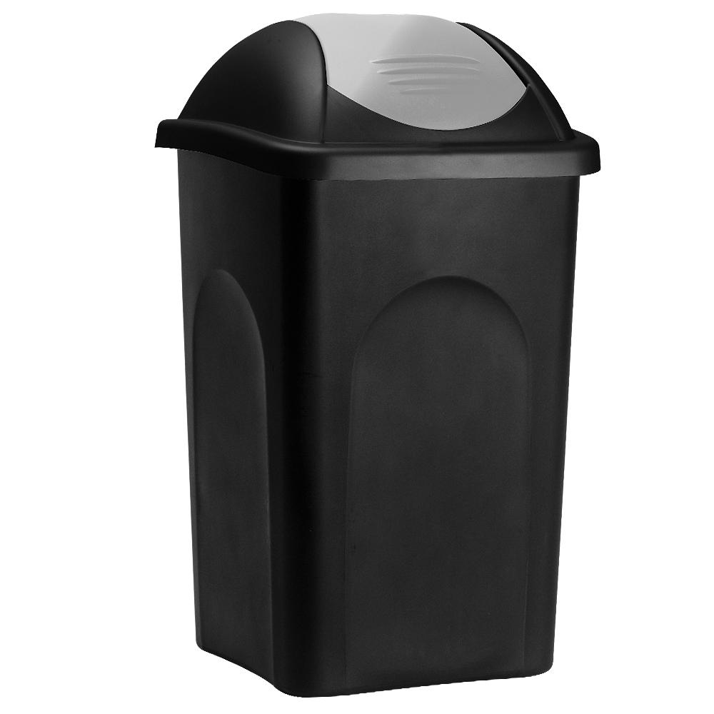 Deuba Afvalbak zwart/zilver 60 liter