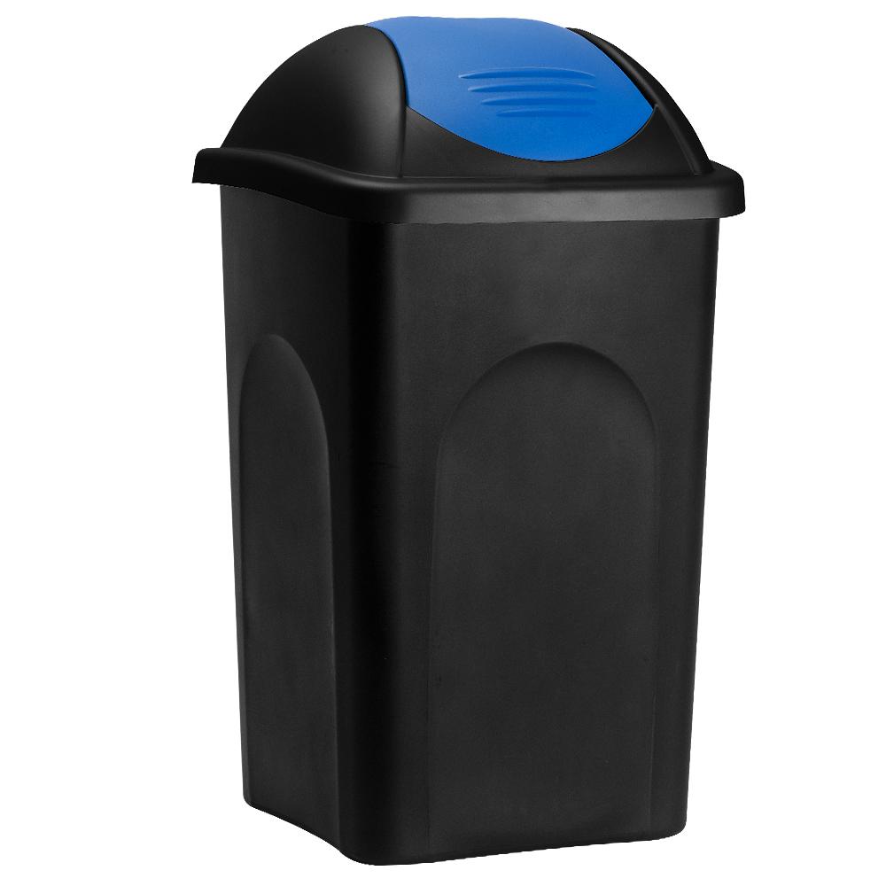 Deuba Afvalbak zwart/blauw 60 liter