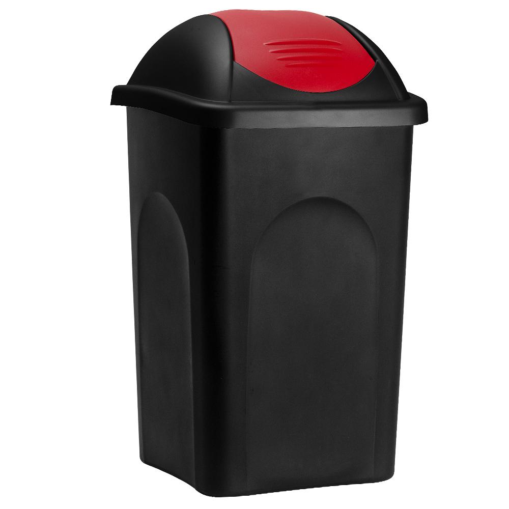 Deuba Afvalbak zwart/rood 60 liter