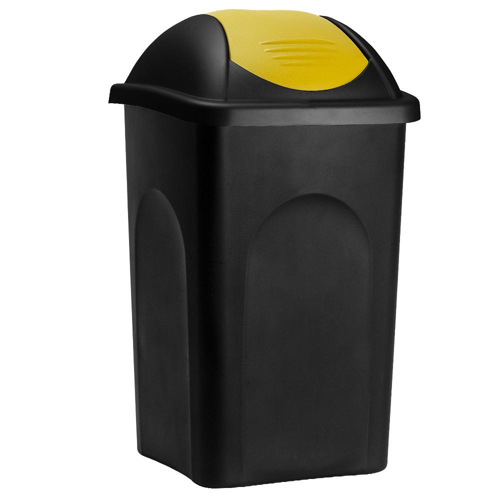 Deuba Afvalbak zwart/geel 60 liter