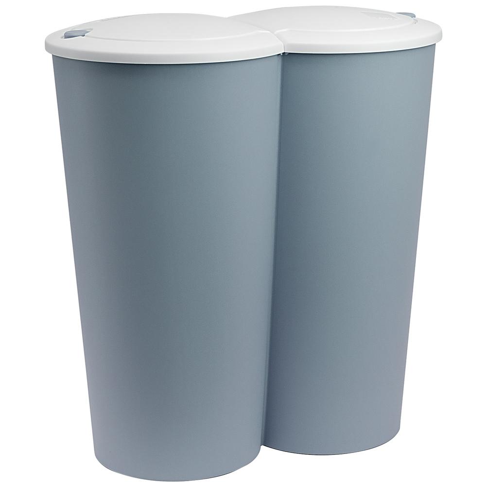 Dubbele vuilnisbak blauw, prullenbak, 2 x 25 liter