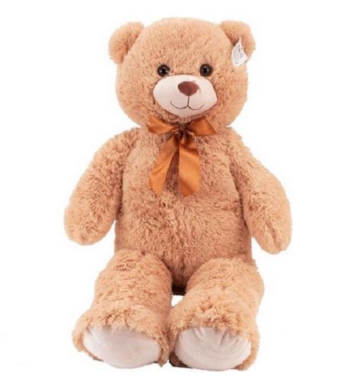 Knuffelbeer Teddybeer met Strik 100 cm kleur licht bruin