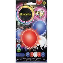 Illooms Ballonnen Rood Wit Blauw met LED Licht  5 Stuks