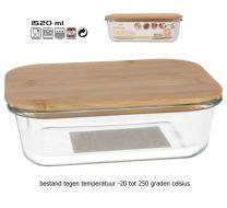 Tarro voorraadschaal van borosilicaat glas met bamboe deksel 1520mL