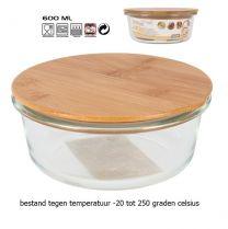 Tarro voorraadschaal van borosilicaat glas met bamboe deksel 600mL