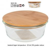 Tarro voorraadschaal van borosilicaat glas met bamboe deksel 900mL