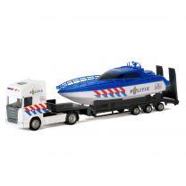 Die-cast Vrachtwagen met Boot - Politie