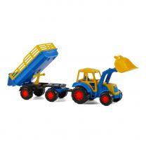 Polesie Tractor met Voorlader en Aanhanger Blauw