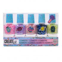 Create It! Galaxy Nagellak Confetti, 5st.