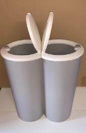 Dubbele vuilnisbak grijs, prullenbak, 2 x 25 liter
