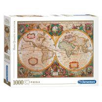 Clementoni Puzzel Oude Wereldkaart, 1000st.