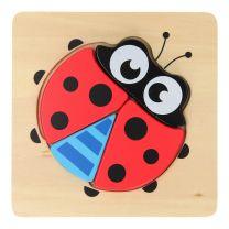 Joueco Houten Dierenpuzzel - Lieveheersbeestje