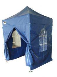 Partytent PVC Easy Up 2 x 2 meter HEX met zijwanden in Blauw