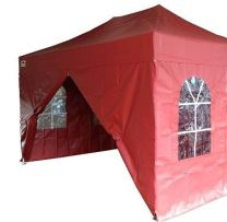 Partytent PVC Easy Up 3 x 3 meter HEX met zijwanden in Rood