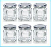 Leifheit 3208 Jampot Zeshoekig 47 ml Glas/Zilver (set van 6 stuks)