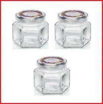 Leifheit 3209 Jampot Zeshoekig 106 ml Glas/Zilver (set van 3 stuks)
