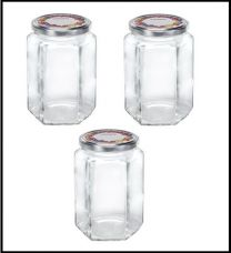 Leifheit 3211 Jampot Zeshoekig 770ml Glas/Zilver (set van 3 stuks)