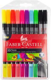 Faber Castell FC-151109 Viltstiften Faber-Castell Duo Neon Kleuren In Etui A 10 Stuks