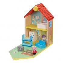 Houten Poppenhuis Peppa Pig met Accessoires