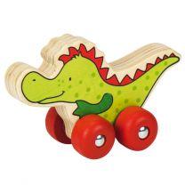 Houten Krokodil op Wielen