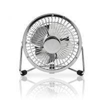 Nedis FNDK1CR10 Metalen Miniventilator Diameter 10 Cm Gevoed Over Usb Chroom
