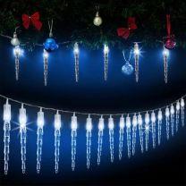 LED Lichtketting met 80 ijspegels 14 mtr lang - TRANSPORTSCHADE