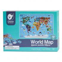 Classic World Houten Legpuzzel Wereldkaart, 48st.