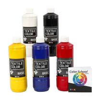 Textielverf - Primaire kleuren, 5x500ml