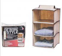 Kast organizer - hangende opberger - stof beige met 3 brede vakken