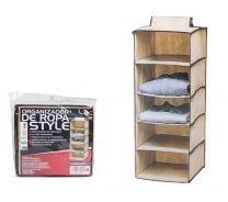 Kast organizer - hangende opberger - stof beige met 5 brede vakken