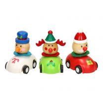 Houten Kerstfiguur in Auto