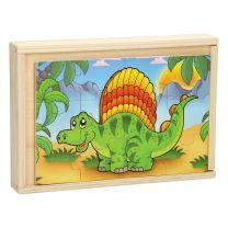 Houten Puzzelset met 4 Puzzels - Dinosaurus