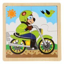 Houten Legpuzzel - Motorbeer, 4st.