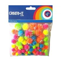 Creat It Glitter Pompoms 75 Stuks Neon