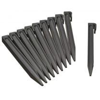 Grondpennen voor borderranden grijs H26,7x1,9x1,8 cm set 10 stuks