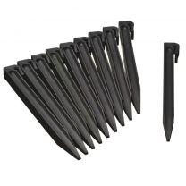 Grondpennen voor borderranden zwart H26,7x1,9x1,8 cm set 10 stuks