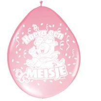 Ballon Hoera een Meisje 30cm 8 stuks