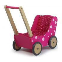 Simply for Kids Houten Poppenwagen Stippeltje Roze