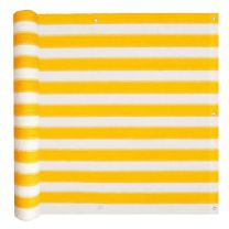Balkonscherm HDPE 75x400 cm geel en wit