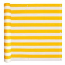 Balkonscherm HDPE 75x600 cm geel en wit