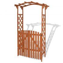 Tuinboog met poort massief hout 120x60x205 cm