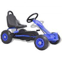 Skelter met pedalen en pneumatische banden blauw