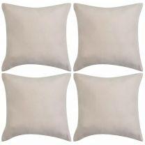 Kussenhoezen 4 stuks beige imitatie sude 40x40 cm polyester